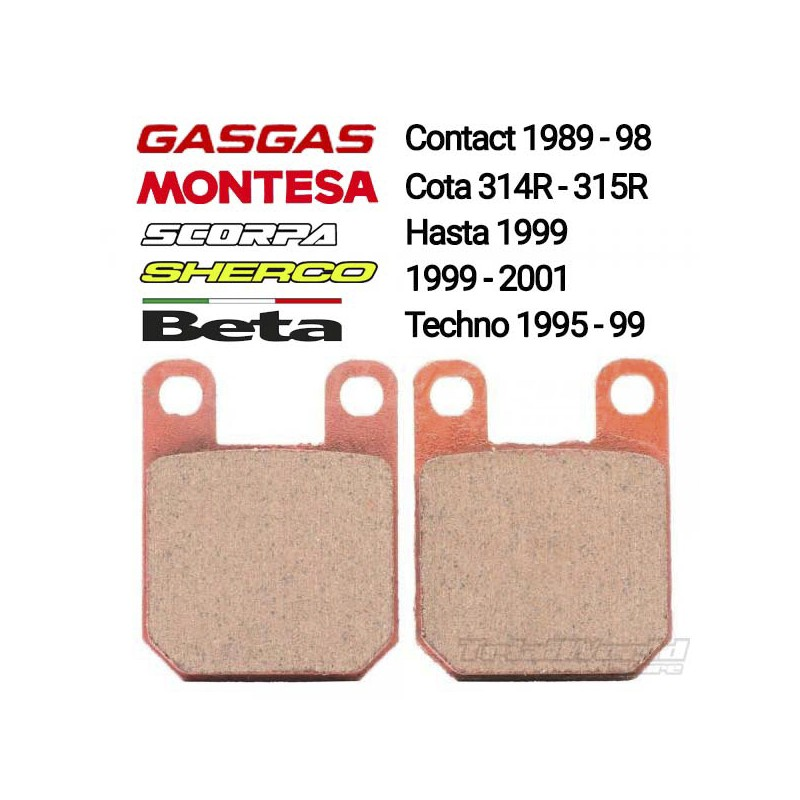 Pastillas de freno Gas Gas Contact, Beta Techno, Montesa 315R y Sherco 99-01