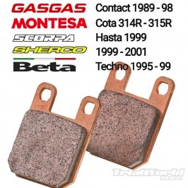 Pastillas de freno sinterizadas Gas Gas Contact, Beta Techno, Montesa 315R y Sherco 99-01