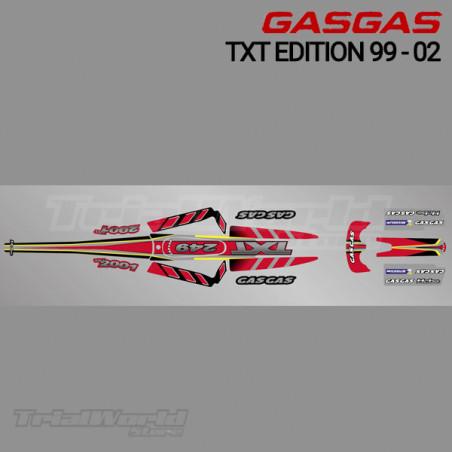 Kit adhesivos GasGas TXT Edition 1999 a 2002 rojo