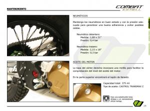 Capacidad aceite motor Vertigo Combat